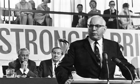 Union leader Frank Cousins addresses the 1966 Labour Party Conference during the economic debate.