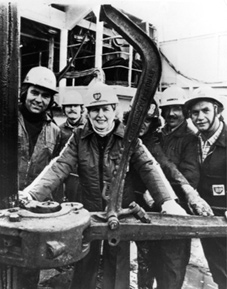 Margaret Thatcher with technicians aboard the North Sea oil rig 'Sea Quest' in September 1975.