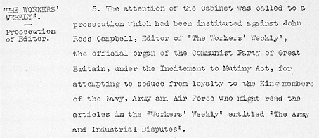Cabinet Conclusion 6 August 1924. The Workers' Weekly