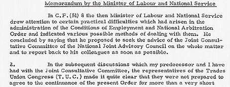 Cabinet Memorandum 20 July 1951. The Future of the Conditions of Employment and National Arbitration Order