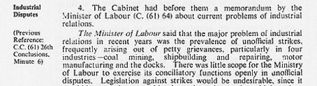Cabinet Conclusion 18 May 1961. Industrial Disputes