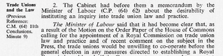 Cabinet Conclusion 5 March 1964. Trade Unions and the Law