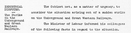 Cabinet Conclusion 6 June 1924. Industrial Disputes