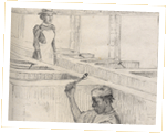 Sketch of a female prisoner breaking coconut fibre. Initialled by E.F.S.B. Bardados, 1901 Cat ref: CO 28/254/60 f 229. Crown Copyright.