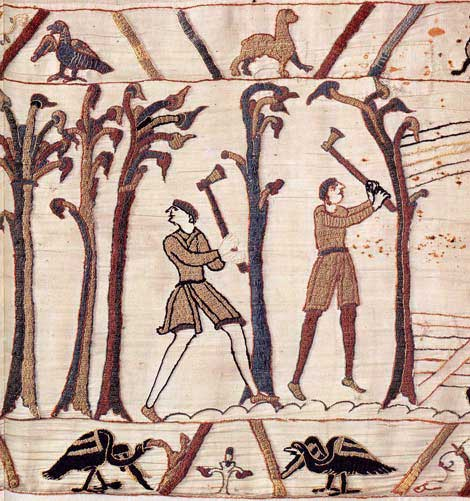 Woodcutters fell trees for building ships on the Bayeux Tapestry.  By special permission of the City of Bayeux.  Detail of the Bayeux Tapestry, 11th century