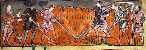 Men harvesting.  Anglo-Saxon calendar, 11th century.  By permission of The British Library.  Cotton Tiberius B. V, Part 1.