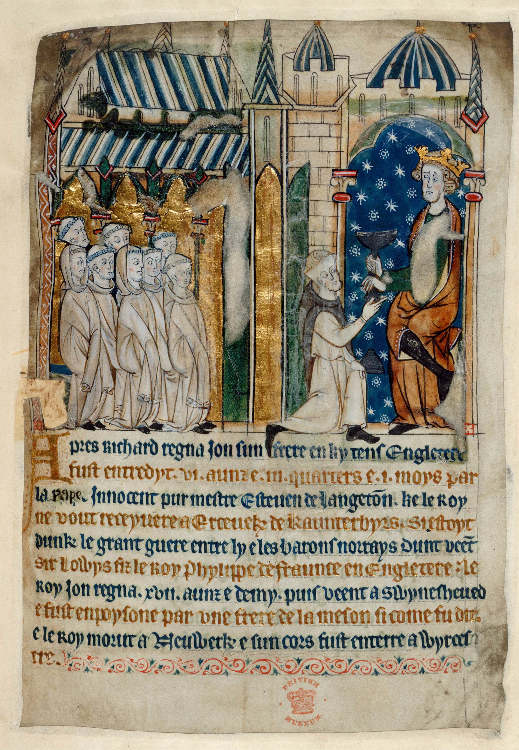 Study an illustration from a Church chronicle 1280