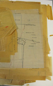 Multiple maps and map overlays from HO193/75, showing signs of mechanical damage