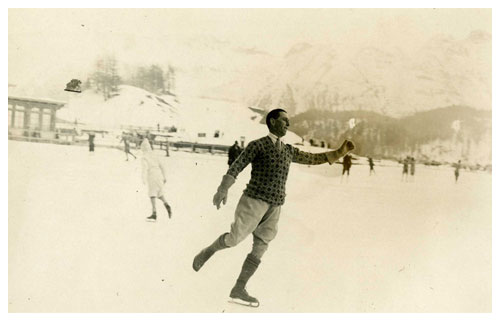 Judge William Evelyn Wylie skating in Switzerland, 1930.