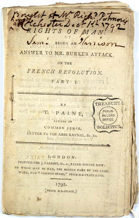 Worn cover of Thomas Paine's 'Rights of Man'. Ref: TS/24/3/9