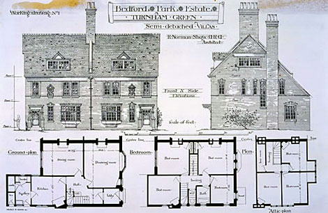 Plans and elevations of Bedford Park Estate, Turnham Green, London, 1877, COPY 1/39 folio 347