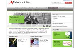 A screenshot of the new Archives sector website