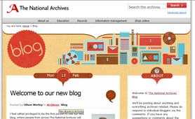 Screenshot of The National Archives' blog