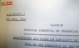 Paper from the Cabinet Official Committee on Communism (Home) (catalogue reference: CAB 134/737)