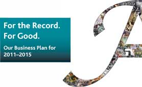 Front cover of our business plan 2011-15: 'For the Record. For Good.'