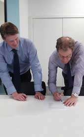 Oliver Morley, our Chief Executive and Keeper, and Christopher Graham, the Information Commissioner, signing the Memorandum of Understanding