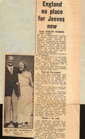 Newspaper article on P G Wodehouse, 'England no place for Jeeves now' (Catalogue reference: LO 2/1166)