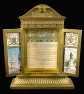 Congratulatory address from the City of Adelaide: Illuminated; in carved gilt cabinet with folding doors (catalogue reference: PP 1/636)