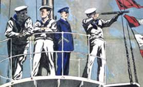 Detail from a Royal Navy recruitment poster, 1917: RNVR signal branch (catalogue reference: ADM 1/8331)