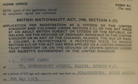 Certificate of Naturalisation, Sid James (catalogue reference: HO 334/874/36511)