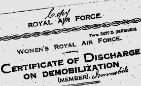 Women's Royal Air Force - Certificate of discharge on demobilisation (catalogue reference: AIR 80/213/3)