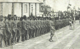 Photograph of African forces on parade (CO 1069/41)