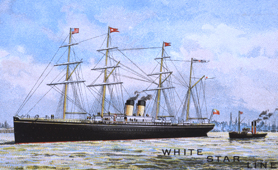 Painting of ship, an advertisement for White Star Line (Catalogue reference: COPY 1/66)