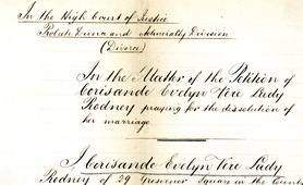 Section of divorce petition of Lady Rodney (Catalogue reference: J 77/738)