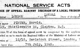 Harold Pinter's document of appeal against National Service (Catalogue reference: LAB 6/468)