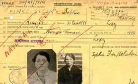 Aliens registration card with 'naturalised' written across it (Catalogue reference: MEPO 35/1/4)