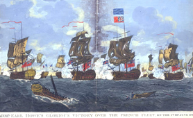 Painting of sailing ships in battle at sea (Catalogue reference: MPI 1/536)