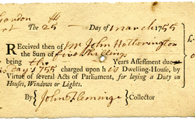 Section of receipt for window tax, 1755 (Catalogue reference: QAB 1/13/27)