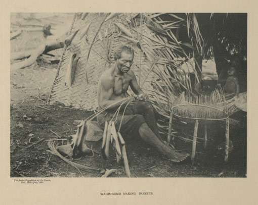 Waiomgomo making baskets. Catalogue reference: CO 1069 781