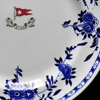 Delft pattern chinaware. A reproduction of a dinner plate designed for the White Star Line that would have been used in Titanic's second class restaurant. Courtesy Peter Boyd-Smith/Cobwebs.
