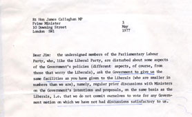 Letter to P M Callaghan from Labour Party members, 1977 (catalogue reference: PREM 16/1355)