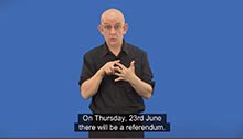 EU Referndum - British Sign Language version of leaflet