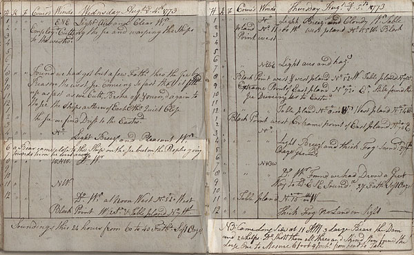 HMS 'Carcass', master's log. 4-5 August 1773. Cat ref: ADM 52/1639 part 7. Crown copyright.