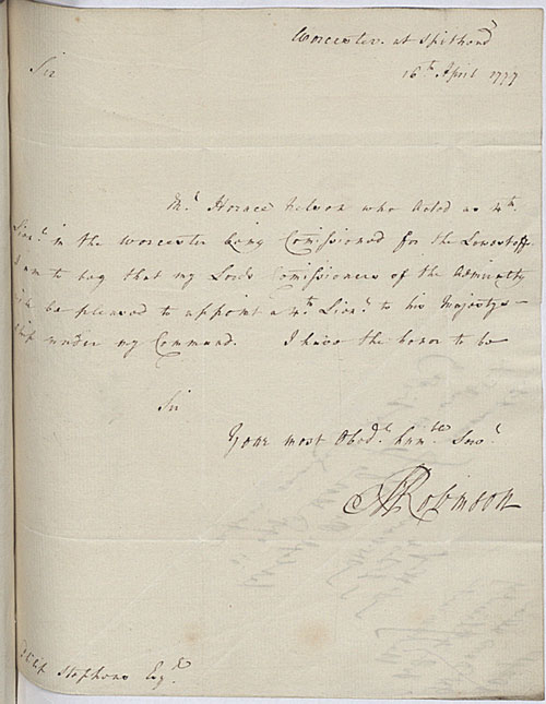Letter requesting Nelson's appointment to HMS 'Worcester'. 16 April 1777. Cat ref: ADM 1/2390. Crown copyright.