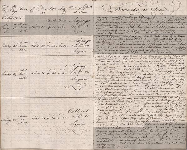 HMS 'Seahorse', captain's log. 19-20 February 1775. Cat ref: ADM 51/883 part 3. Crown copyright.