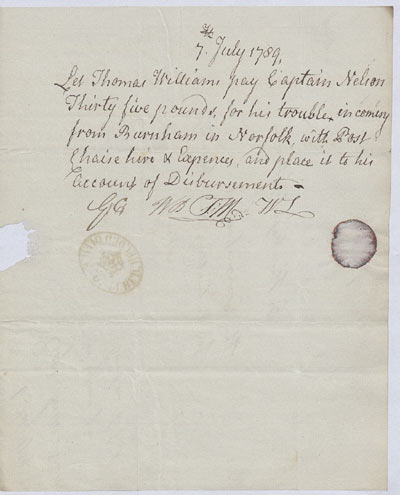 Expenses claim. 6-7 July 1789. Cat ref: ADM 114/26. Crown copyright.