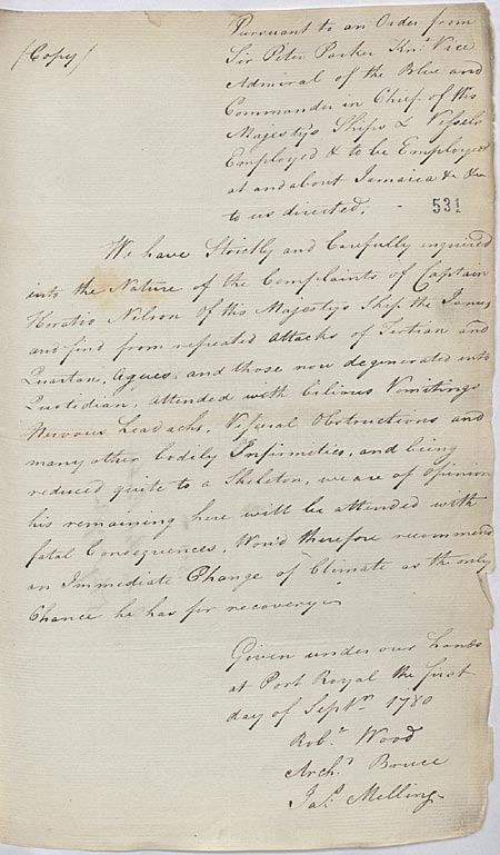 Copy medical officers' report. 1 September 1780. Cat ref: ADM 1/242 f 531. Crown copyright.