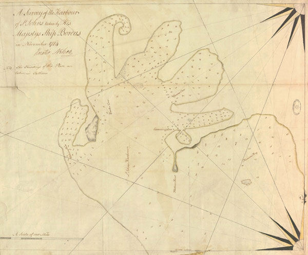 Survey of the harbour of St John. November 1784. Cat ref: MPI 1/95. Crown copyright.