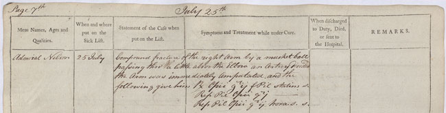 HMS 'Theseus', extract from medical officer's journal. 25 July 1797. Cat ref: ADM 101/123/2 page 7. Crown copyright.