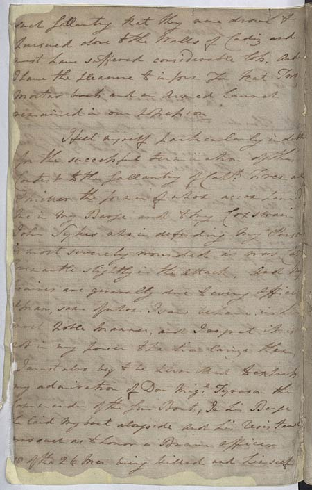 Nelson's despatch about the attack on Cadiz. 4 July 1797. Cat ref: ADM 1/396. Crown copyright.