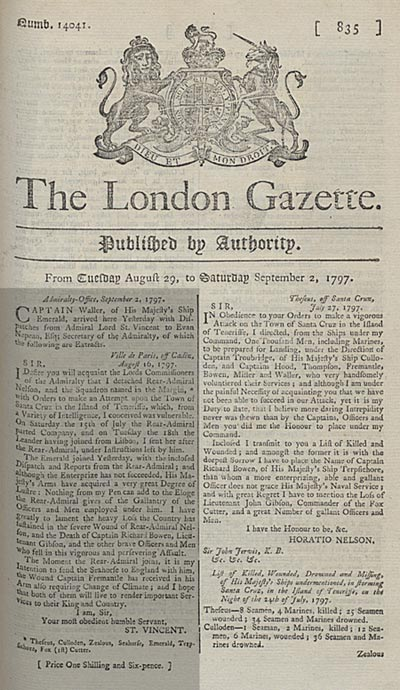 Nelson's despatch about the attack on Santa Cruz. 29 August - 2 September 1797. Cat ref: ZJ 1/97 pp 835-6.