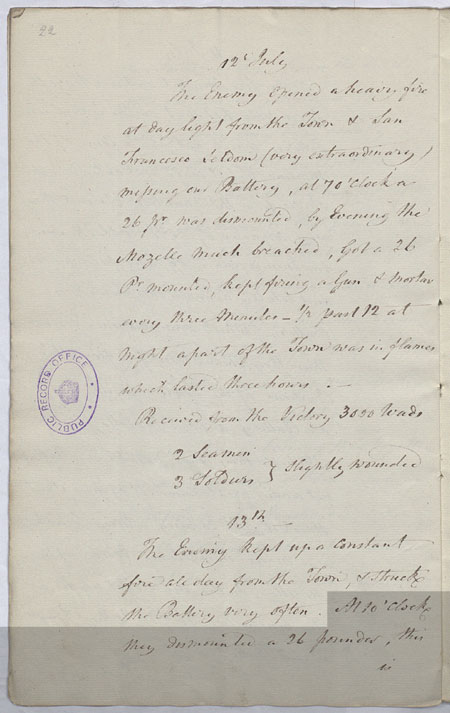 Journal entries for the siege of Calvi. 12-13 July 1794. Cat ref: ADM 1/2224 (N15). Crown copyright.