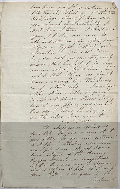 Extract, letter to Sir William Hamilton. 20 July 1798. Cat ref: FO 70/11 ff 188-9. Crown copyright.