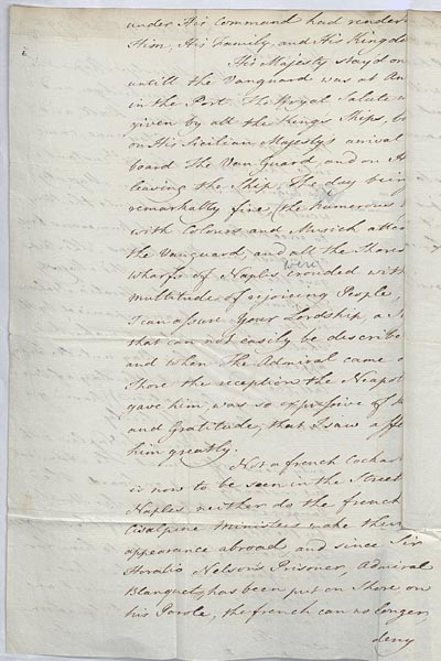 Extract, Sir William Hamilton describes how Nelson was feted after the Battle of the Nile. 25 September 1798. Cat ref: FO 70/11 ff 250-1. Crown copyright.