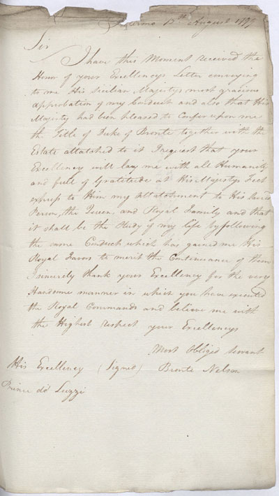 Letter to Prince de Luzzi. 13 August 1799. Cat ref: ADM 1/400 (N246). Crown copyright.