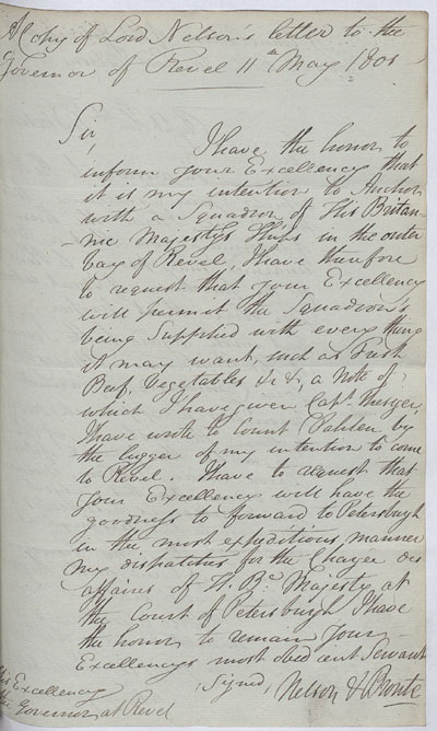 Letter to the Governor of Revel. 11 May 1801. Cat ref: ADM 1/4 (Ha 83). Crown copyright.